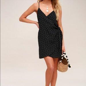 Lulus Black Polka Dot Wrap Dress - Size S